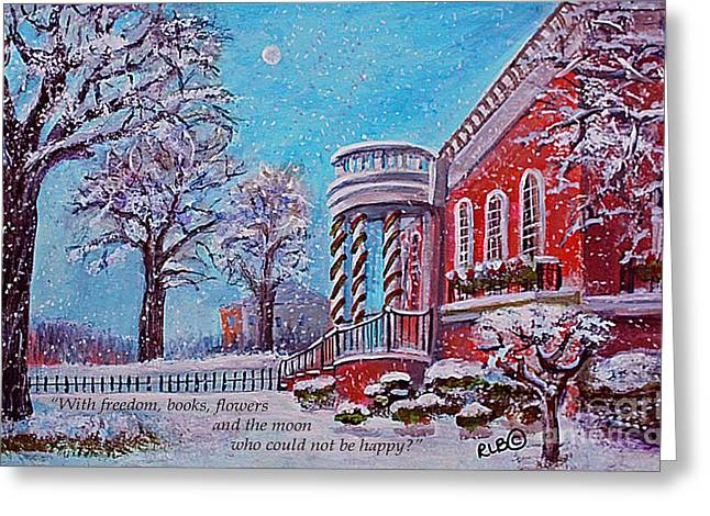 Moon Over The Waltham Library Greeting Card by Rita Brown