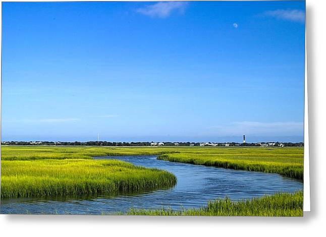 Mt. Pleasant Sc Greeting Cards - Moon Over Tidal Creek Greeting Card by John Lindroth