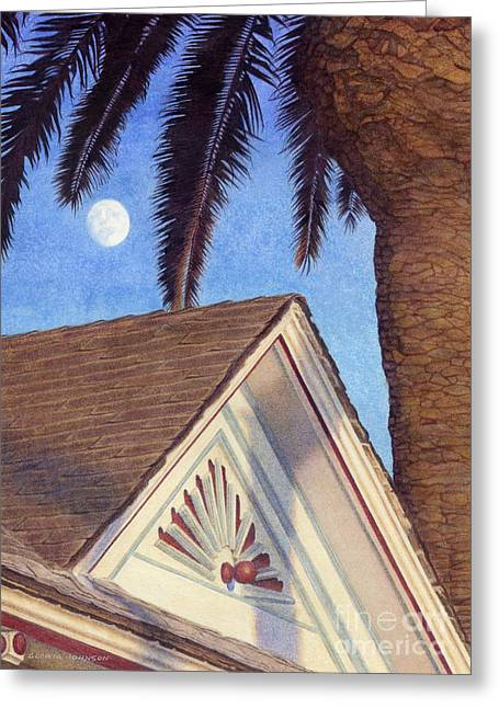 Man In The Moon Paintings Greeting Cards - Moon Over Top Gun House Greeting Card by Gloria Johnson