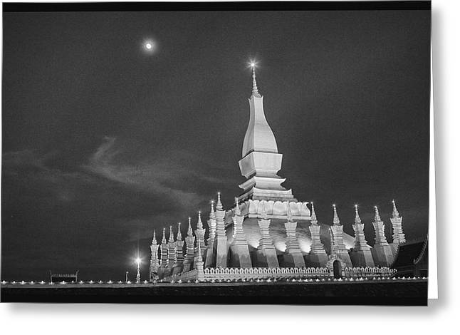 Moon Over Vientiane Greeting Card by David Longstreath
