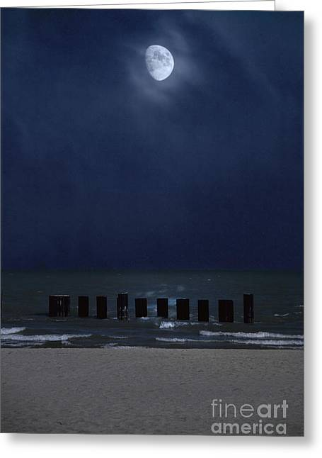 Sea Moon Full Moon Greeting Cards - Moon Over Waters Greeting Card by Margie Hurwich