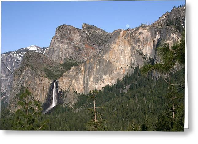 John Hancock Greeting Cards - Moon over Yosemite Greeting Card by John Hancock