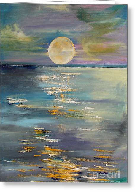 Planetoid Paintings Greeting Cards - MOON over YOUR town/REFLEXION Greeting Card by PainterArtist FIN