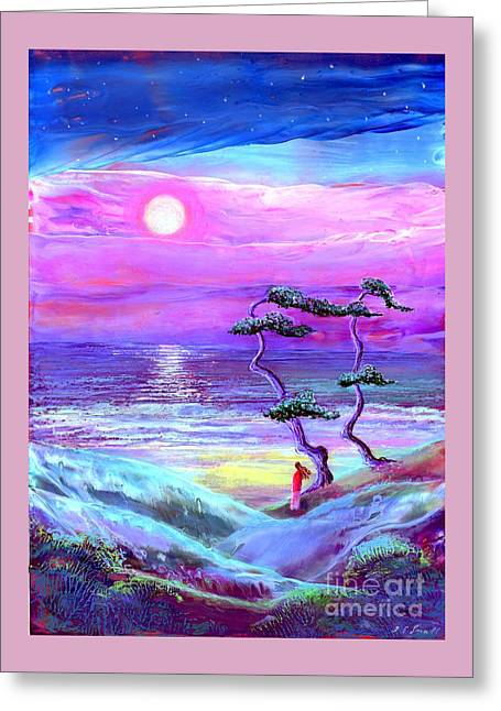 Moon Pathway,seascape Greeting Card by Jane Small