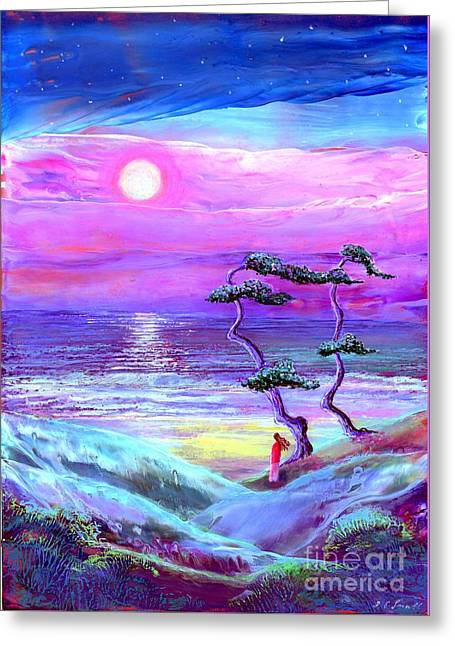 Surreal Fantasy Trees Landscape Greeting Cards - Moon Pathway Greeting Card by Jane Small
