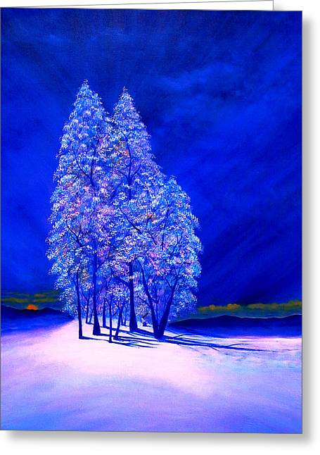 Northern Lights Greeting Cards - Moon Peeking at Frosty Trees Greeting Card by Reggie Hart