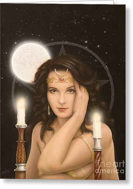 Moon Priestess Greeting Card by John Silver