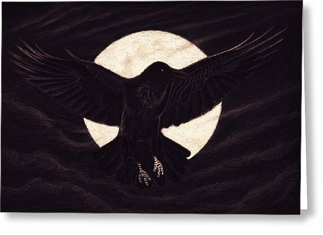 Moody Pastels Greeting Cards - Moon Raven Greeting Card by Sesh Artwork
