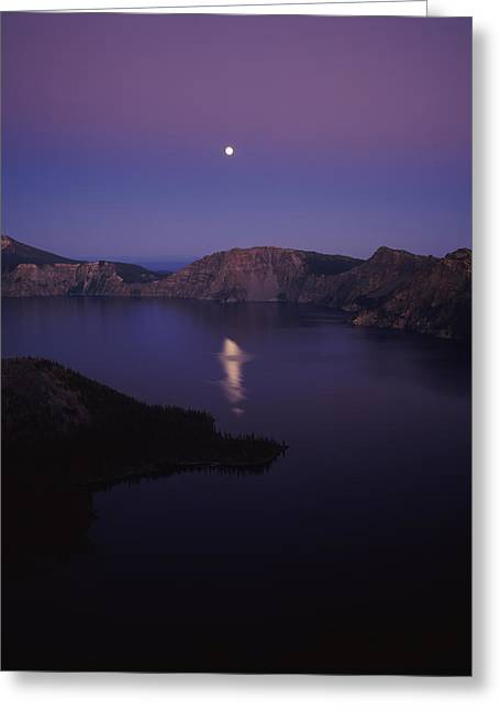 Crater Lake Greeting Cards - Moon Reflection In The Crater Lake Greeting Card by Panoramic Images