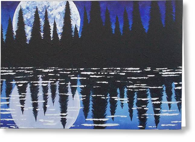 Recently Sold -  - Walden Pond Greeting Cards - Moon Reflection Over Walden Pond Greeting Card by Tracy Levesque
