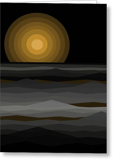 Moon Rise Greeting Cards - Moon Rise Abstract - Black and Gold Greeting Card by Val Arie