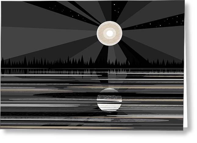 Moon Rise - Black And White Greeting Card by Val Arie