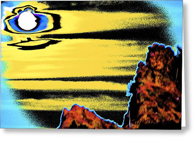Craters Pyrography Greeting Cards - Moon rise - Crater Lake Greeting Card by Jacob Sela