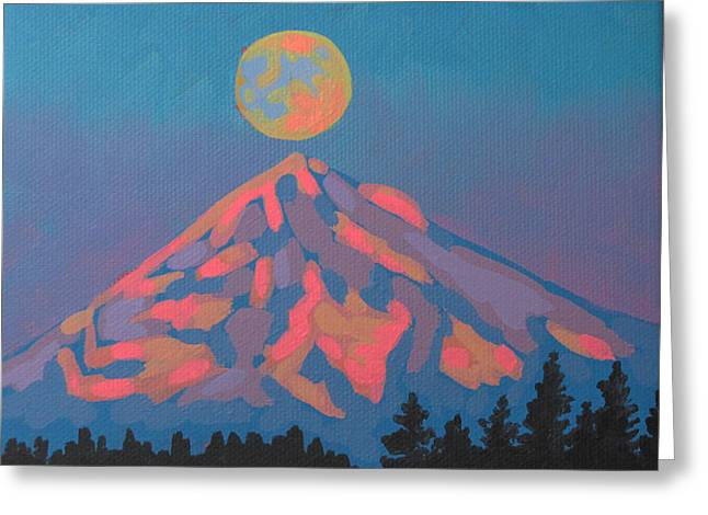 Moonrise Greeting Cards - Sunset Moon Greeting Card by Dorothy Jenson