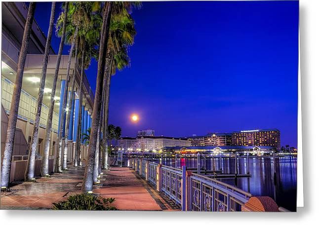 Tampa Bay Greeting Cards - Moon Rise over Harbor Island Greeting Card by Marvin Spates
