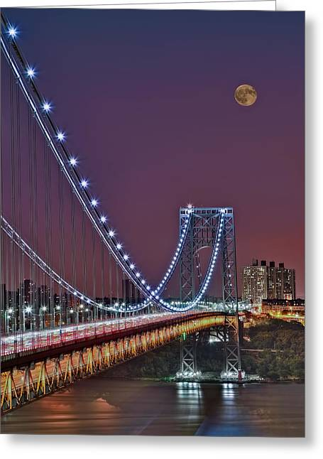 Blue Hour Greeting Cards - Moon Rise over the George Washington Bridge Greeting Card by Susan Candelario