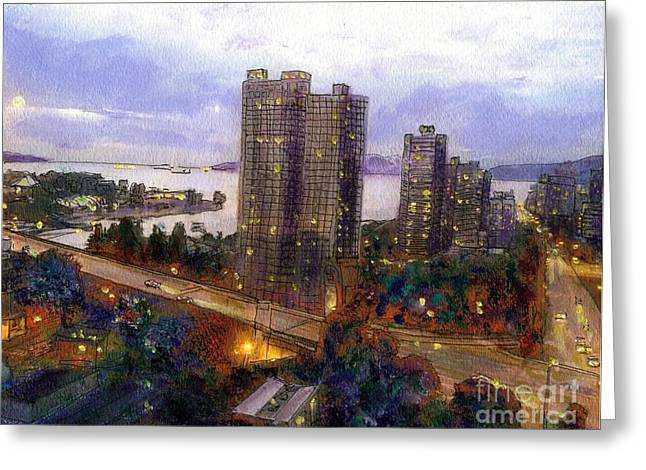Vancouver Mixed Media Greeting Cards - Moon Rise Over Vancouver  Greeting Card by Randy Sprout