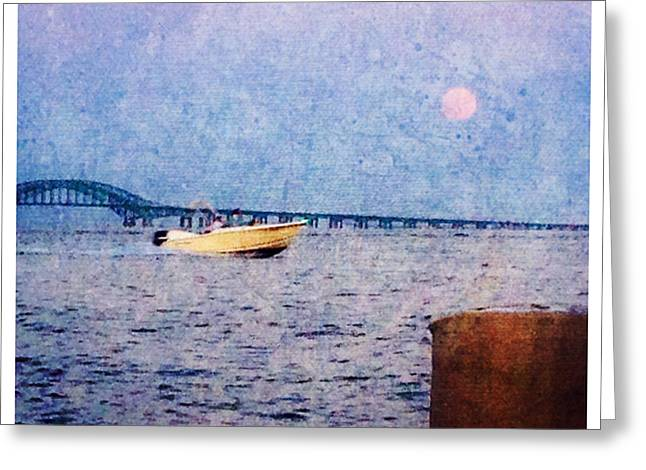 Moon Beach Pyrography Greeting Cards - Moon Rise Greeting Card by Patricia Innes