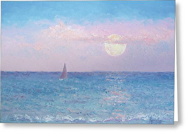 Ocean Sailing Greeting Cards - Moon Rise Sailing Greeting Card by Jan Matson