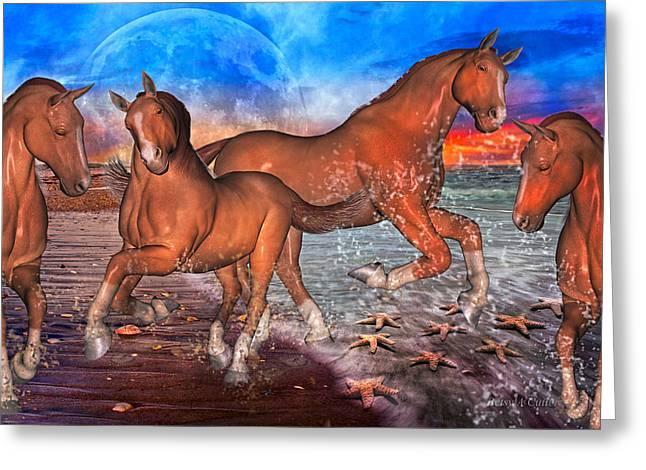 Playing Digital Greeting Cards - Moon Rise Splendor Greeting Card by Betsy C  Knapp