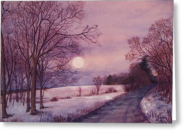 Rural Maine Roads Paintings Greeting Cards - Moon Rising Greeting Card by Joy Nichols