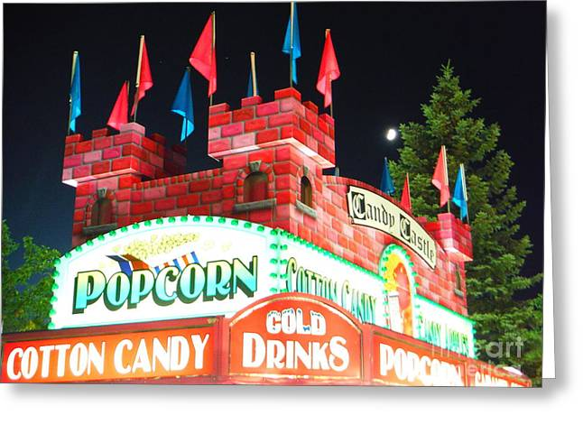 Hilliard Greeting Cards - Moon Rising Over Candy Castle Greeting Card by Paddy Shaffer