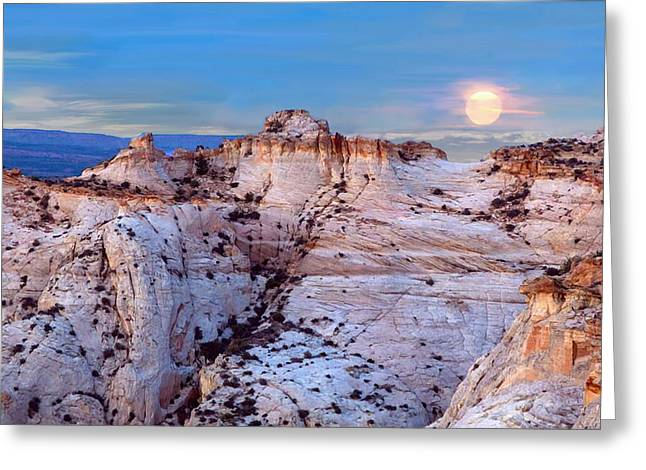 The Plateaus Digital Greeting Cards - Moon Rising Over Escalante Staircase Greeting Card by  Bob and Nadine Johnston
