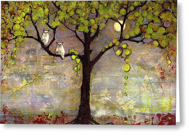 Night Greeting Cards - Moon River Tree Owls Art Greeting Card by Blenda Studio