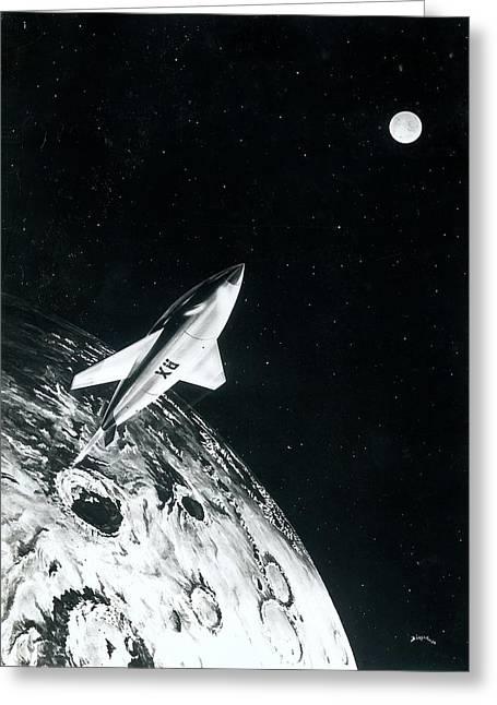 Moon Rocket Greeting Card by Detlev Van Ravenswaay
