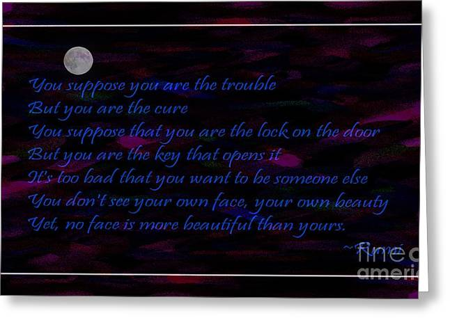 Loving Self Greeting Cards - Moon Rumi and Dots of Color Greeting Card by Barbara Griffin