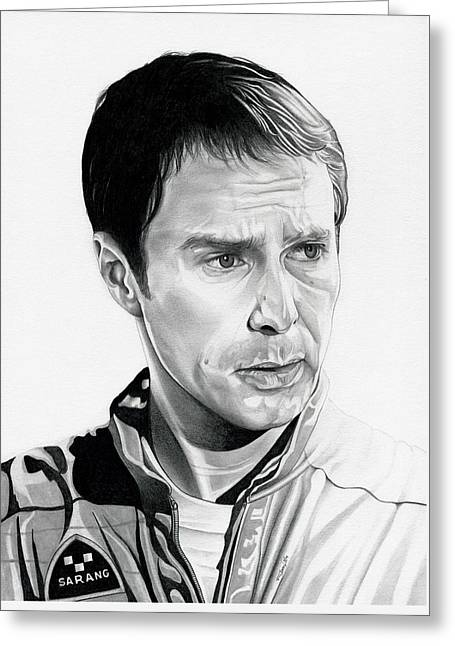 Moon  Sam Rockwell Greeting Card by Fred Larucci