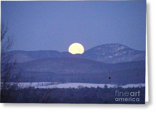 Mt Pyrography Greeting Cards - Moon Set over Mt. Mansfield Greeting Card by Susan Russo