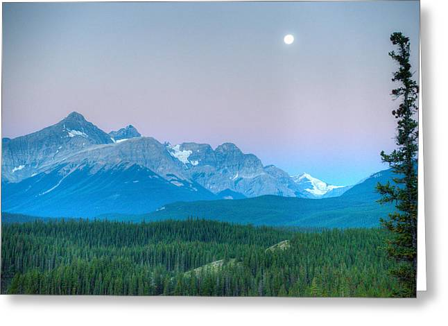 Moon Set Greeting Cards - Moon Set over Survey peak Greeting Card by Douglas Barnett