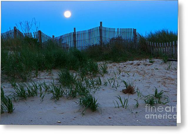 Moon Beach Photographs Greeting Cards - Moon Setting at Beach Plum Island Greeting Card by Robert Pilkington