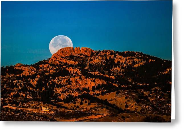 Moon Setting Behind Horsetooth Rock at Sunrise Greeting Card by Harry Strharsky