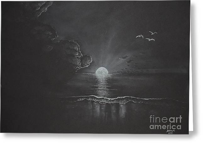 Moon Beach Drawings Greeting Cards - Moon Setting Greeting Card by David Swope