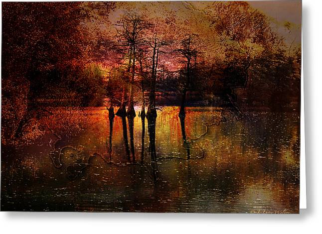 Waterscape Digital Art Greeting Cards - Moon Setting Over Reelfoot Lake Greeting Card by J Larry Walker