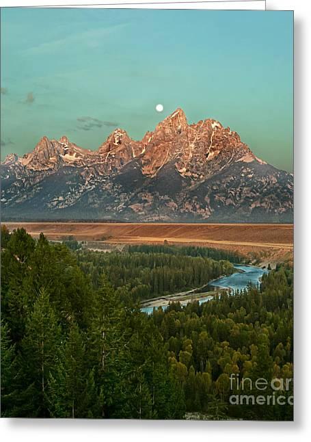 Moon Setting Greeting Card by Robert Bales