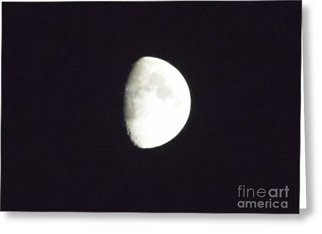 Lunar Greeting Cards - Moon Shadow Black and White Greeting Card by Melissa Baker