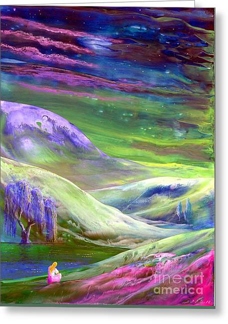 Prayer Paintings Greeting Cards - Moon Shadow Greeting Card by Jane Small