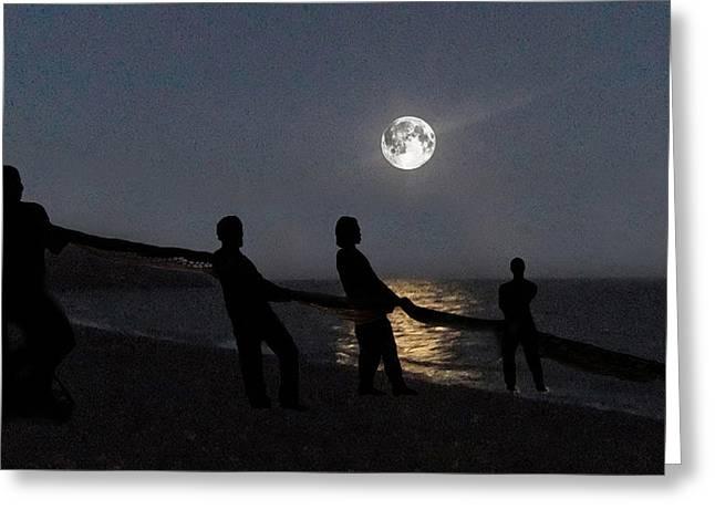 Sea Moon Full Moon Mixed Media Greeting Cards - Moon Shadows  Greeting Card by Eric Kempson