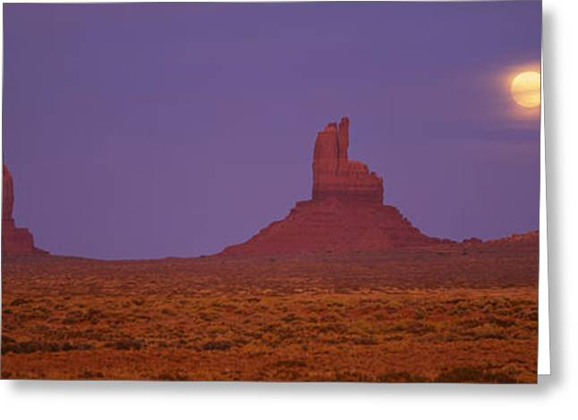 Sparse Greeting Cards - Moon Shining Over Rock Formations Greeting Card by Panoramic Images