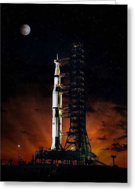Neil Armstrong Greeting Cards - Moon Shot Greeting Card by Peter Chilelli