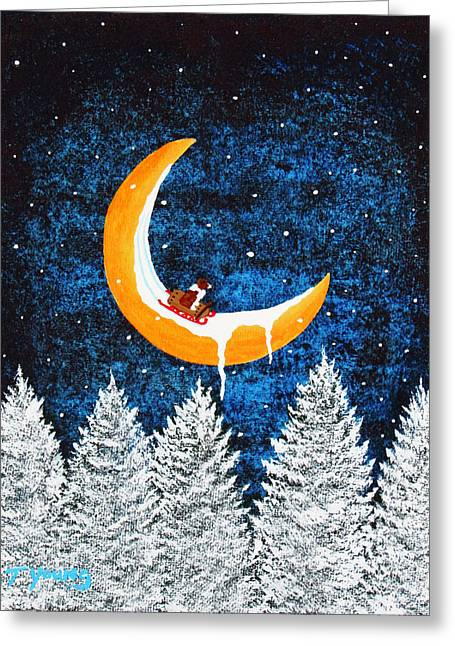 Recently Sold -  - Tobogganing Greeting Cards - Moon Sledding Greeting Card by Todd Young