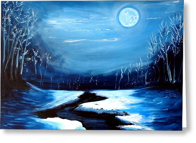 Recently Sold -  - Snow Scene Landscape Greeting Cards - Moon Snow Trees River Winter Greeting Card by Katy Hawk
