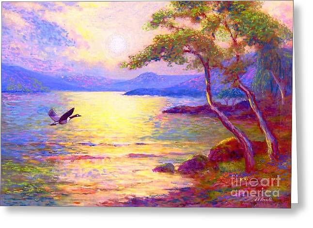 Canada Landscape Greeting Cards - Moon Song Greeting Card by Jane Small
