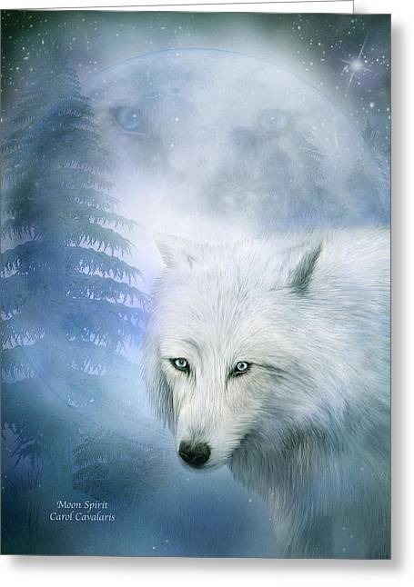 Arctic Wolf Greeting Cards - Moon Spirit 1-White Wolf - Blue  Greeting Card by Carol Cavalaris