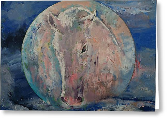 Moon Stallion Greeting Card by Michael Creese