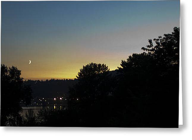 Cresent Falls Greeting Cards - August Crescent Moon Greeting Card by Stefan Kaertner