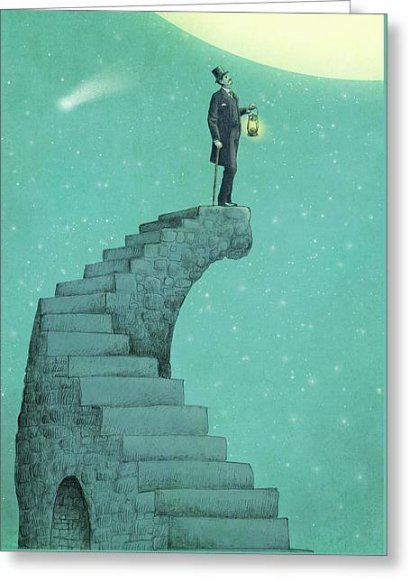 Dreams Drawings Greeting Cards - Moon Steps Greeting Card by Eric Fan